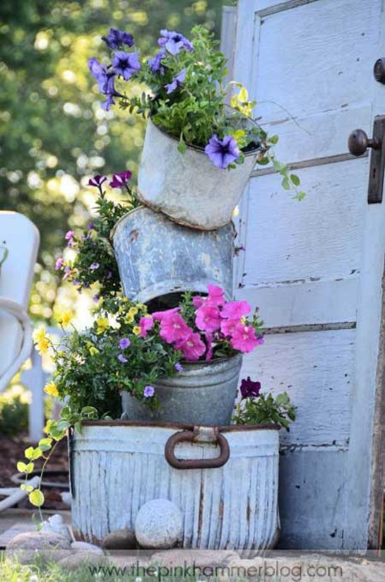 diy tilted bucket planter