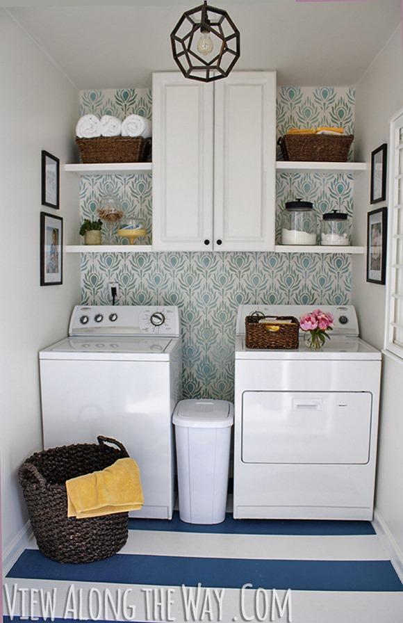Laundry Room Makeover w Easy DIY Wall Stencils :: wall stenciling :: finecraftguild