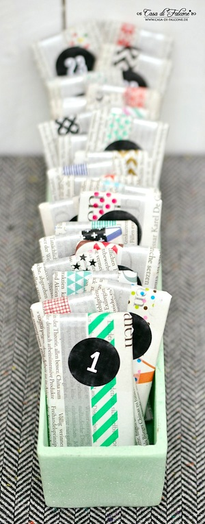 homemade advent calendar washi tape newsprint wrap