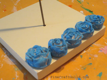 incense burner blue roses  :: Fine Craft Guild .com