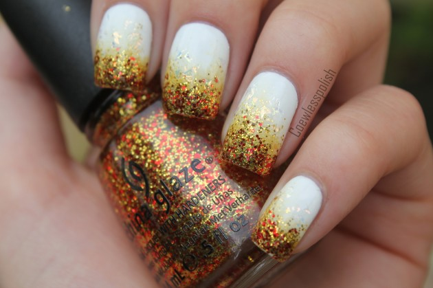 thanksgiving nail art glitter gold nail art