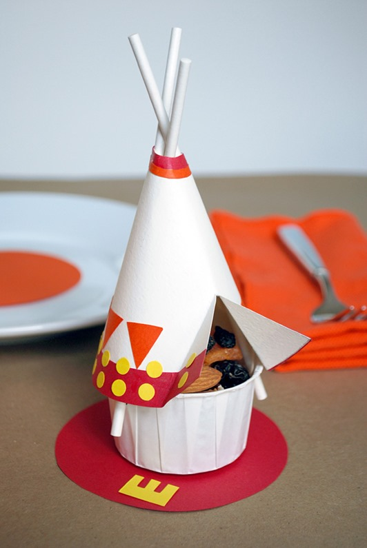 thanksgiving snack recipes for kids :: indian  tepees w. nuts raisins :: FineCraftGuild.com