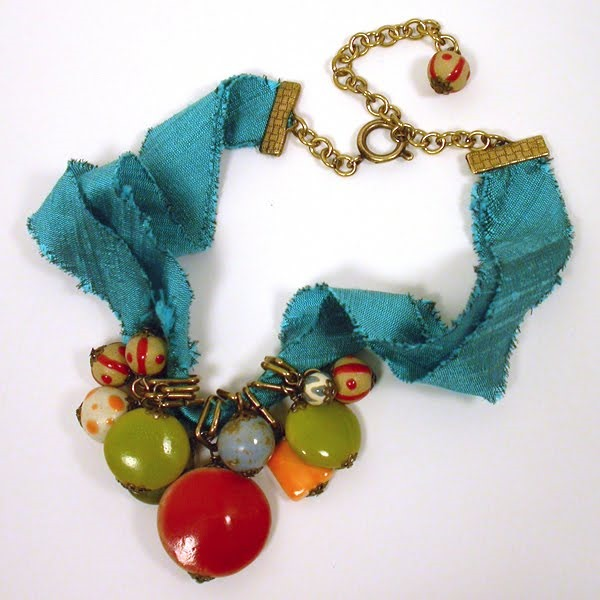 Beaded Necklace Tutorial w Silk Ribbon