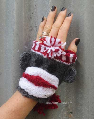fingerless gloves sock monkey knitting pattern