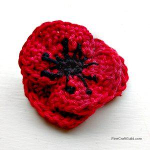 4 petal red poppy crochet pattern for beginners