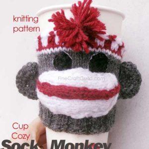 sock monkey knitting pattern cup cozy