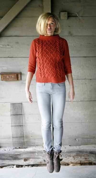 fashion jumper cable sweater free knitting pattern