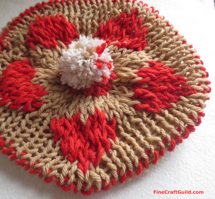 heart beret knitting pattern :: FineCraftGuild.com