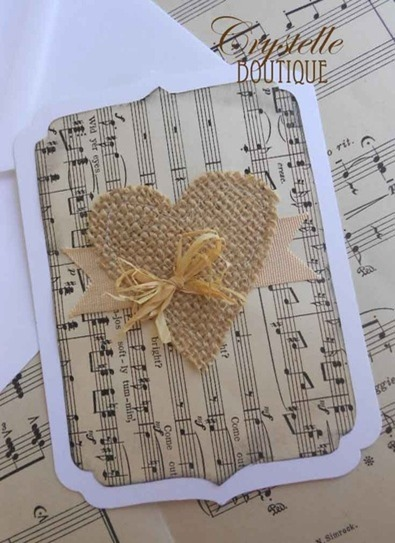 tutorial to make a vintage card with sheet music and a burlap heart