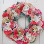 Spring Wreath with Paper Fans and DIY Garden Canopy