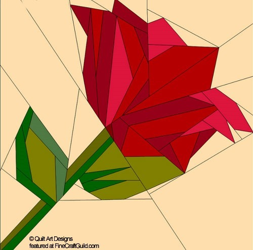 valentine rose quilt block pattern - paper piecing