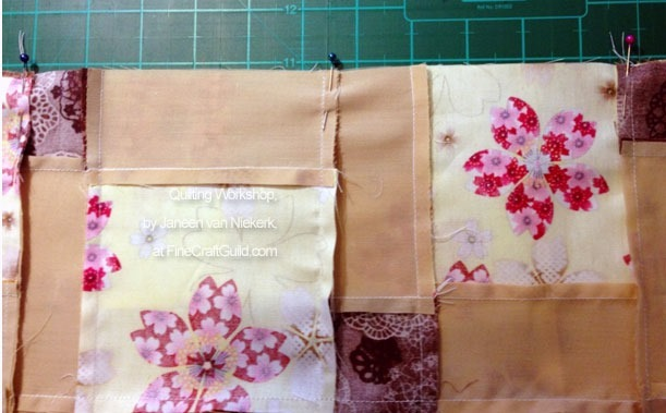 free online quilting workshops, how to nest seams