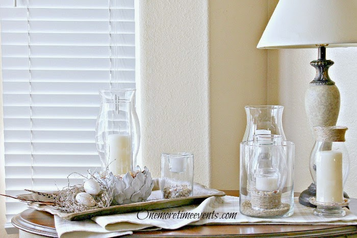 natural spring vignette with layers of glass