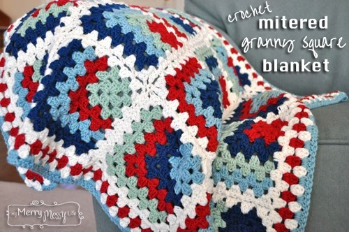 mitered granny square blanket free crochet pattern