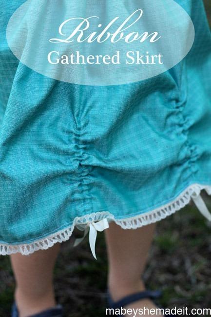 ribbon gathered skirt free sewing pattern