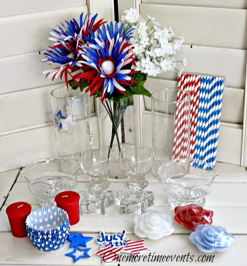 DIY Fourth of July Decorating supplies :: Recycled Glass Vignette w stars and stripes
