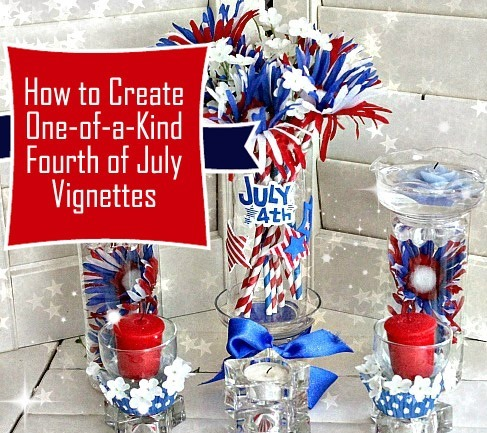 DIY Fourth of July Decorations :: Recycled Glass Vignette w stars and stripes