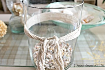 DIY Beach Decor Ideas :: Seashells fishing net candles glass :: FineCraftGuild.com
