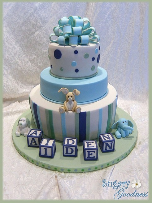 Shower Cake That Says U0027Boys Partyu0027. Baby_shower_cakes_blues_bow_blocks_bunny