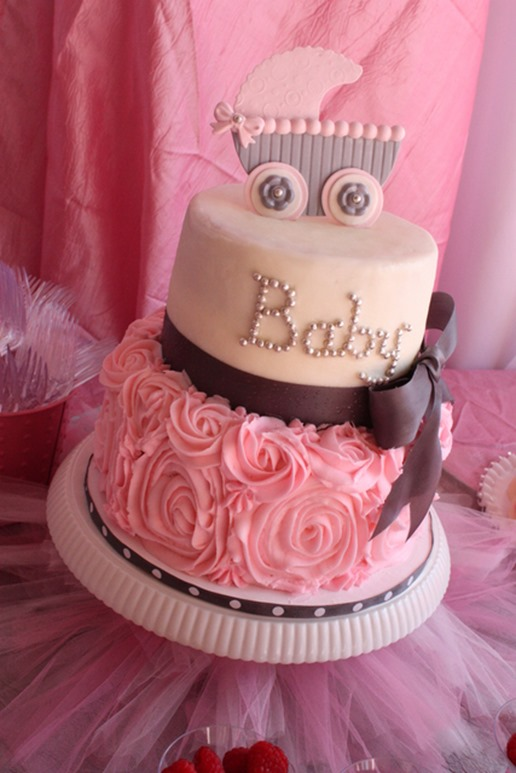 baby_shower_cakes_pink_pram_roses