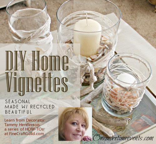 glamour diy home vignettes with recycled materials