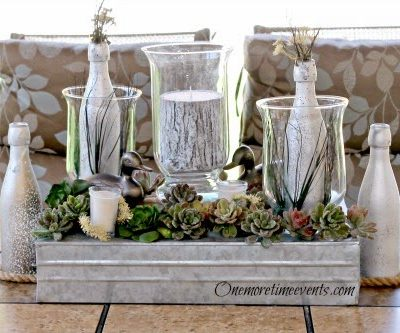Natural Father's Day Centerpieces with Hurricanes