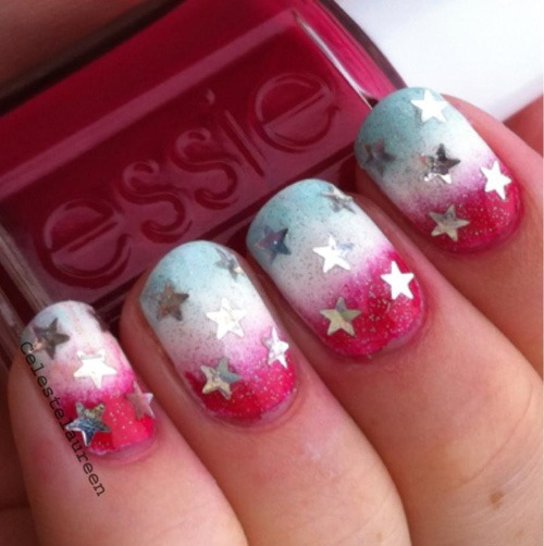 red_white_stars - 10 of the best designs for Fourth of July Nail Art, by FineCraftGuild.com
