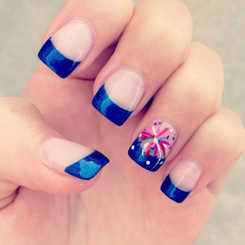 fireworks and marine blue french manicure - 10 of the best designs for Fourth of July Nail Art, by FineCraftGuild.com