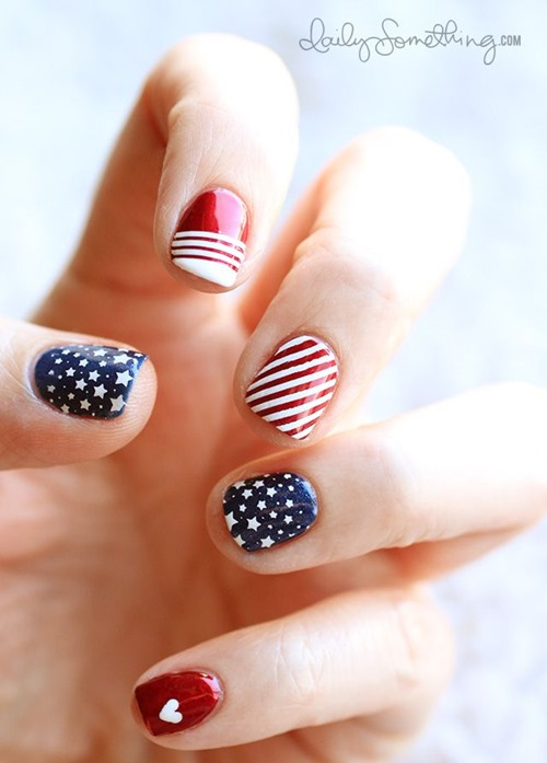 patriotic nail art -  10 of the best designs for Fourth of July Nail Art, by FineCraftGuild.com