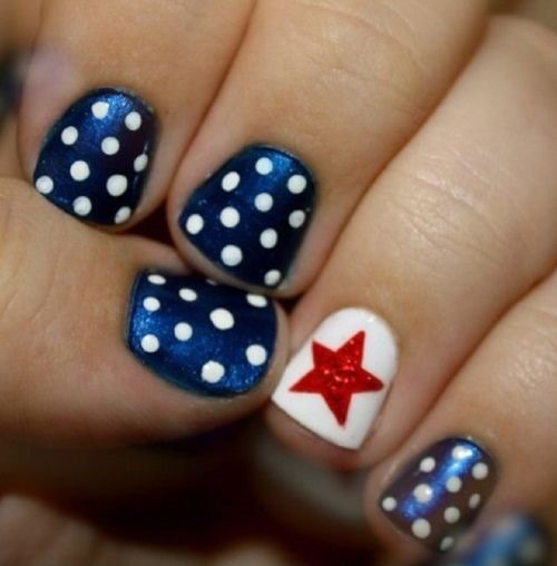 Polkadot star nails - 10 of the best designs for Fourth of July Nail Art, by FineCraftGuild.com