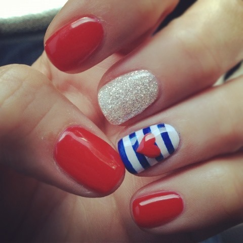 4th of july nails -- red nail art blue stripes heart