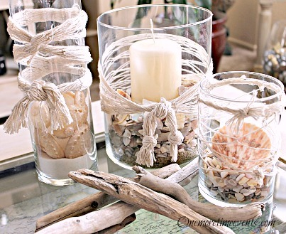 DIY Beach Decor Ideas :: how to decorate with seashells, netting and driftwood to make a great DIY summer centerpiece :: FineCraftGuild.com