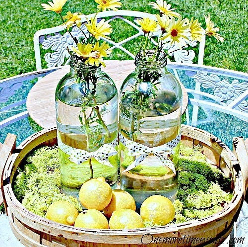 Lemonade bottle use centerpiece