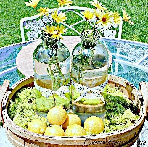 DIY Summer Centerpiece Ideas w Recycled Lemonade Bottles