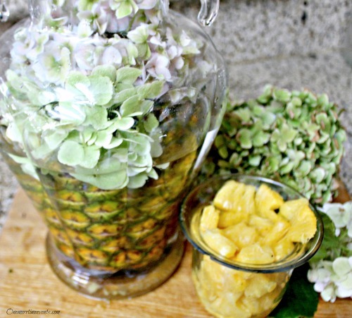 Pineapple Centerpiece with pineapple pieces
