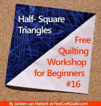 How to Sew Half Square Triangles for Quilts :: free online quilting workshop :: FineCraftGuild.com