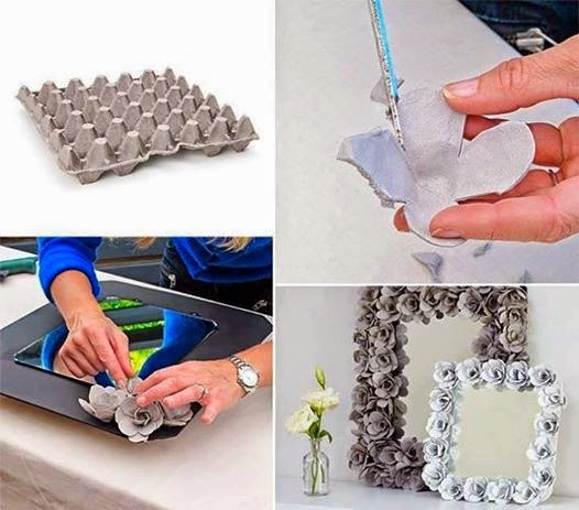 diy decorative mirrors w recycled egg carton paper flowers