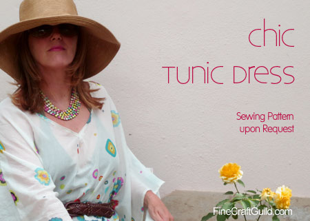 white summer dress tunic sewing pattern :: FineCraftGuild.com