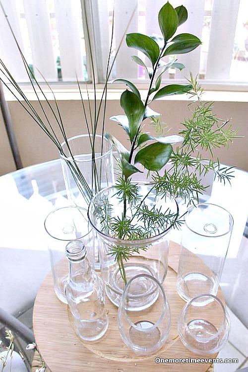 How to arrange a natural arrangement in glass vases