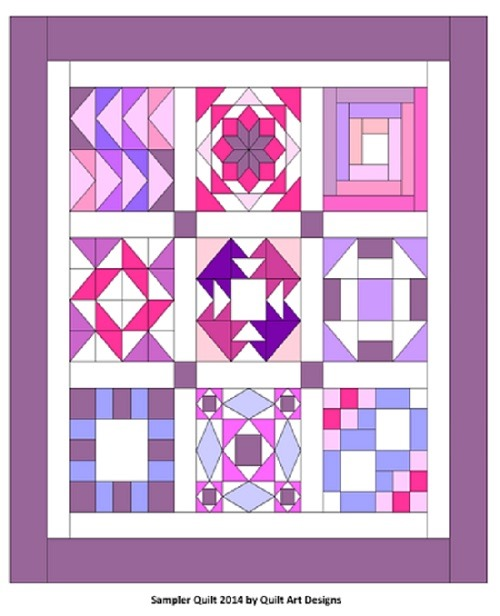 free sampler quilt workshop, free sampler quilt pattern,  purple quilts :: FineCraftGuild.com