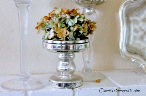 Easy Fall Mantel decorations :: Candle stick holder with hydrangea :: FineCraftGuild.com
