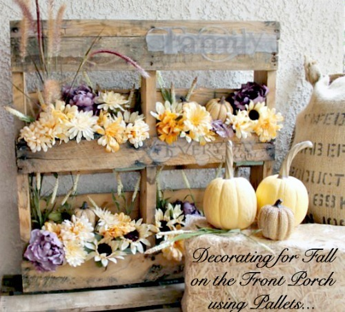 Porch Decorations: Fall Flowers in Wood Pallets