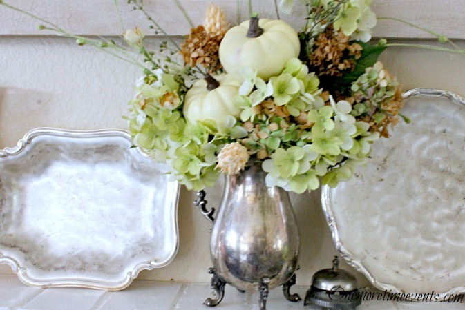 Easy Fall Mantel Decorations : Silver + Mercury Glass