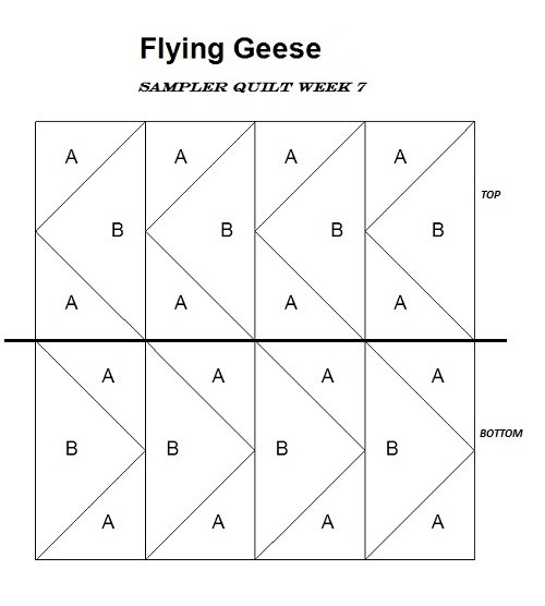 Flying Geese Block Quilt Pattern plan