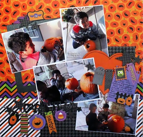 Halloween scrapbooking page layouts pumpkin carving