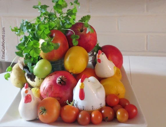 centerpiece ideas :: how to decorate with vegetables and fruit
