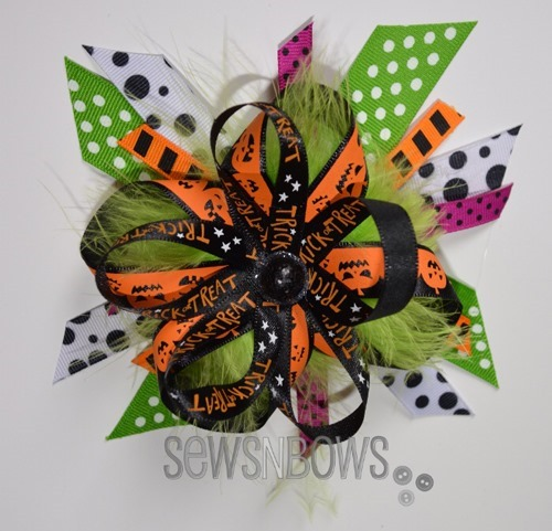 Best Halloween Ideas :: Halloween hair bows ribbons crafts