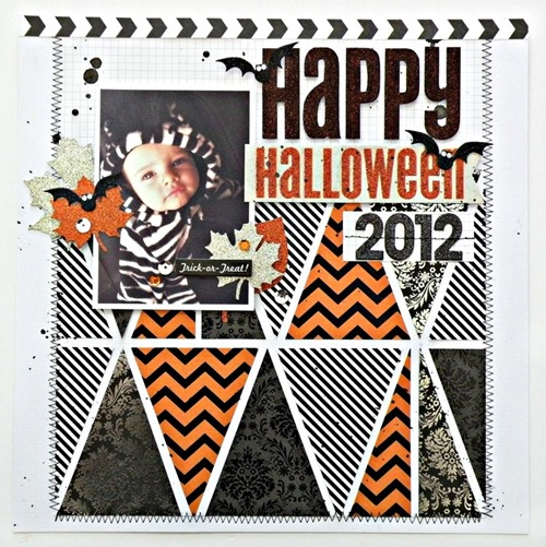 Halloween scrapbooking page layouts with bats