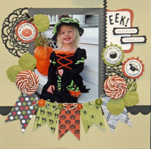 happy Halloween scrapbooking page layouts with bunting