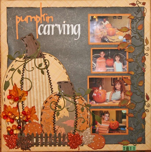 Halloween scrapbooking page layouts, pumpkin carving